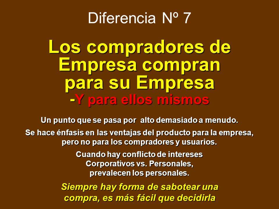 Diferencia Nº 6 Los Productos para Empresas son más complejos Primero el uso y/o la aplicación, luego la descripción del producto Primero el uso y/o l