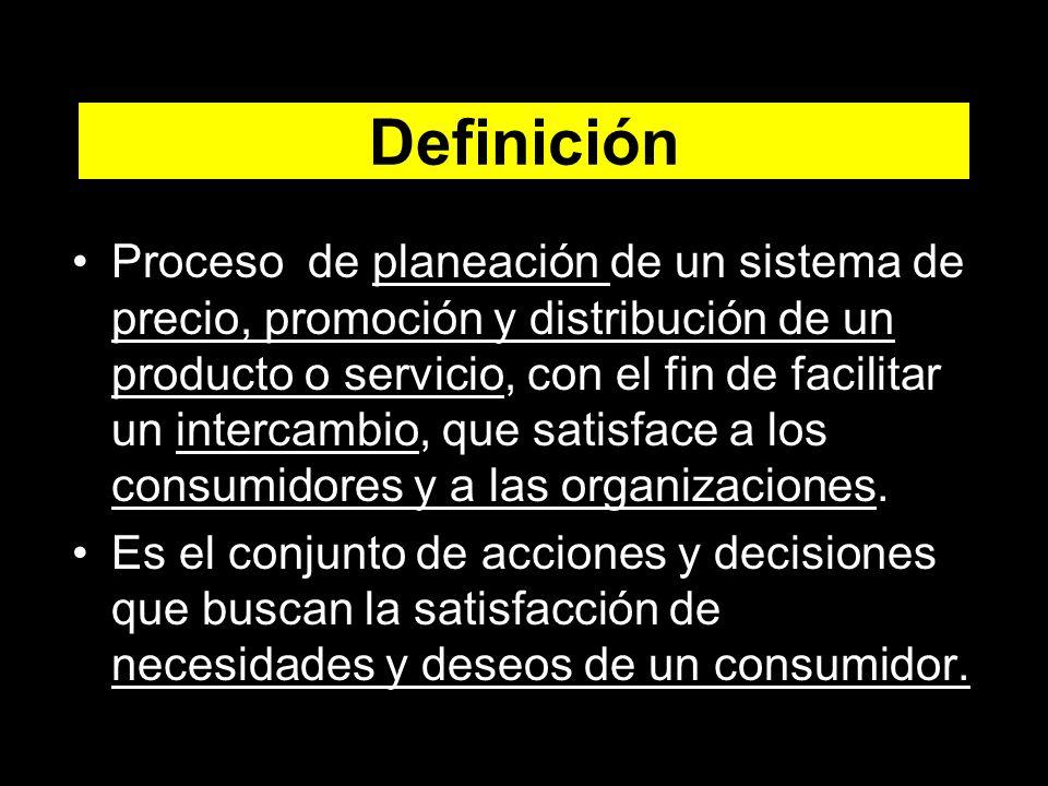 Definición Proceso de planeación de un sistema de precio, promoción y distribución de un producto o servicio, con el fin de facilitar un intercambio, que satisface a los consumidores y a las organizaciones.
