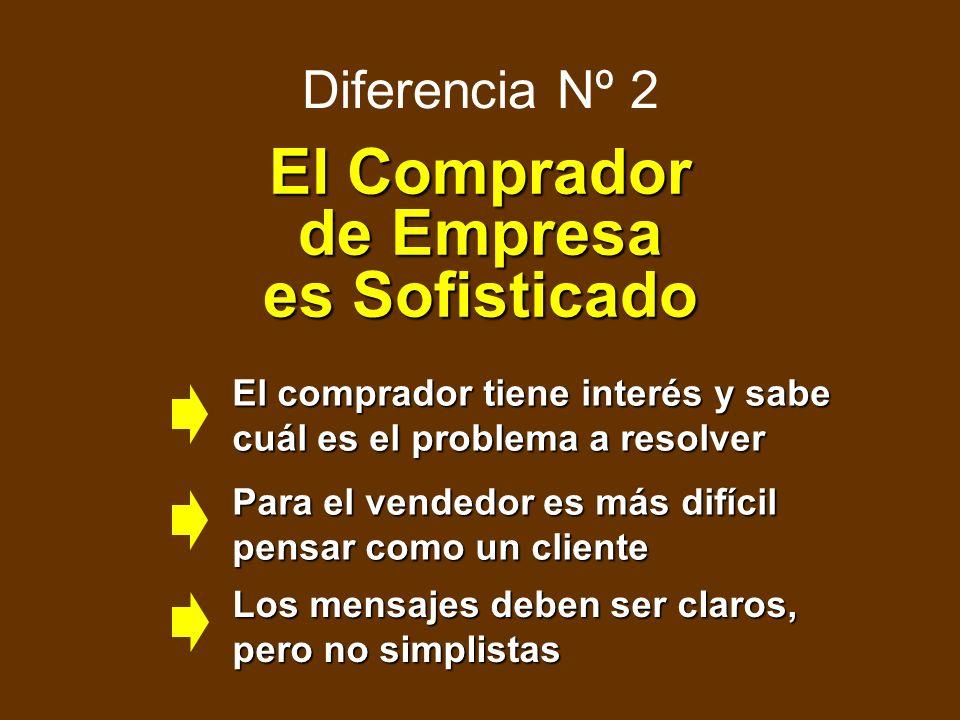 Diferencia Nº 1 El Comprador quiere/tiene que comprar El Marketing puede ser mucho más pragmático.