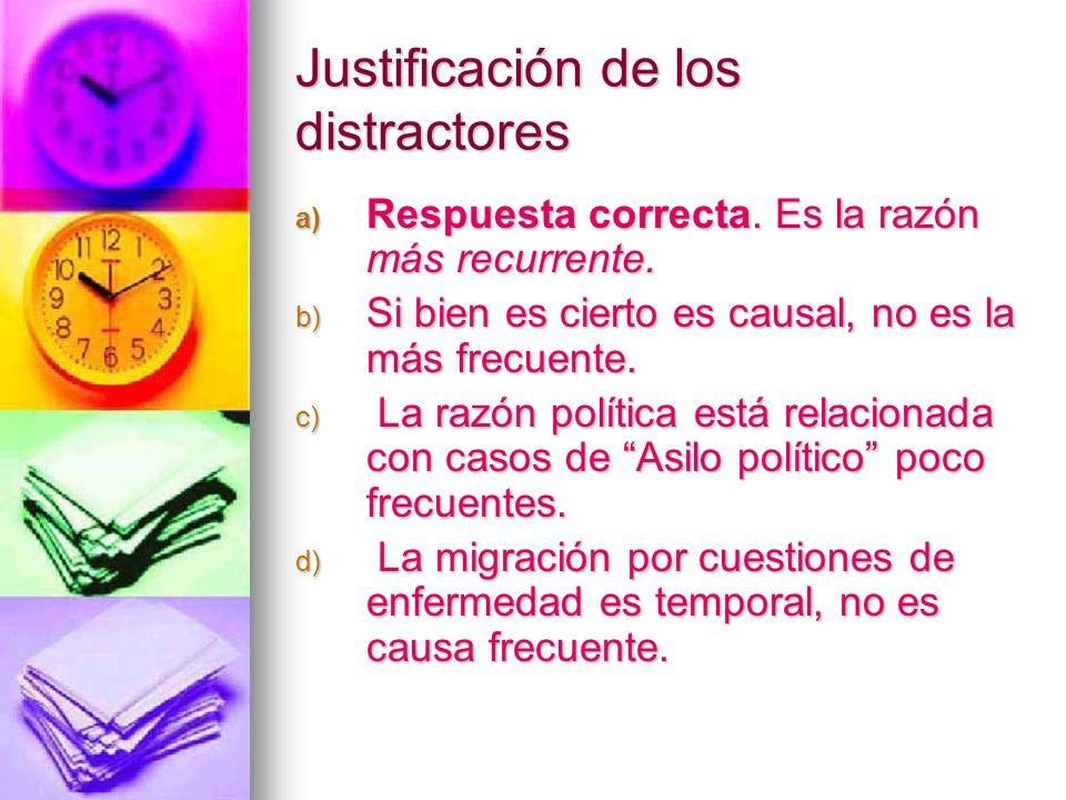 Justificación de los distractores a) Respuesta correcta. Es la razón más recurrente. b) Si bien es cierto es causal, no es la más frecuente. c) La raz