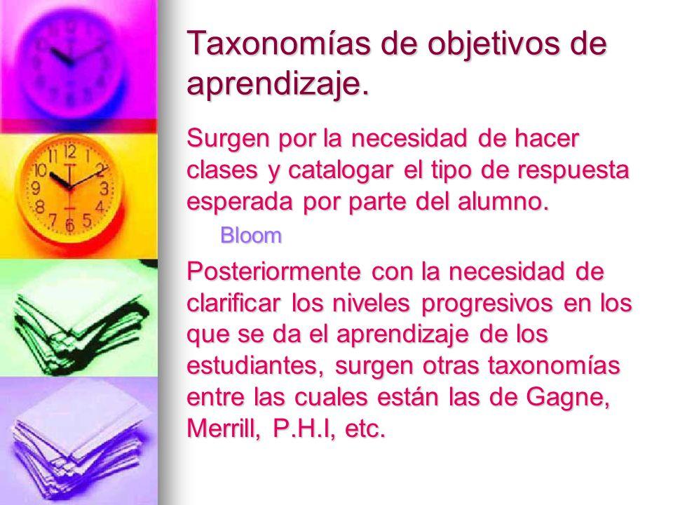 Taxonomías de objetivos de aprendizaje. Surgen por la necesidad de hacer clases y catalogar el tipo de respuesta esperada por parte del alumno. Bloom
