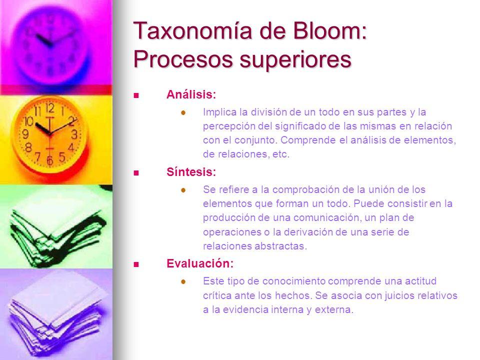 Taxonomía de Bloom: Procesos superiores Análisis: Implica la división de un todo en sus partes y la percepción del significado de las mismas en relaci
