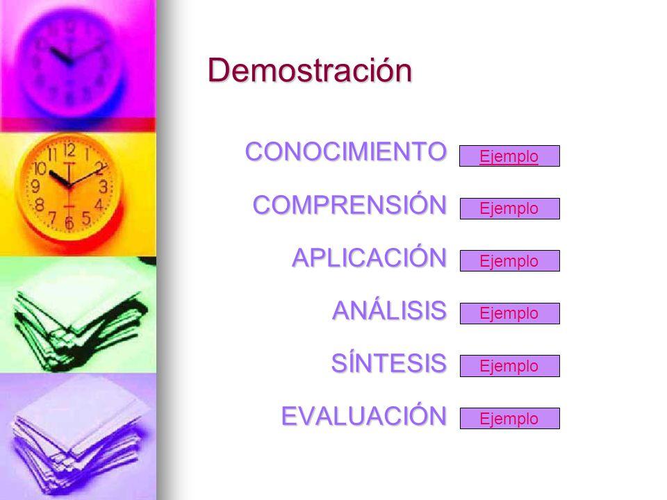 Demostración Ejemplo CONOCIMIENTOCOMPRENSIÓNAPLICACIÓNANÁLISISSÍNTESISEVALUACIÓN