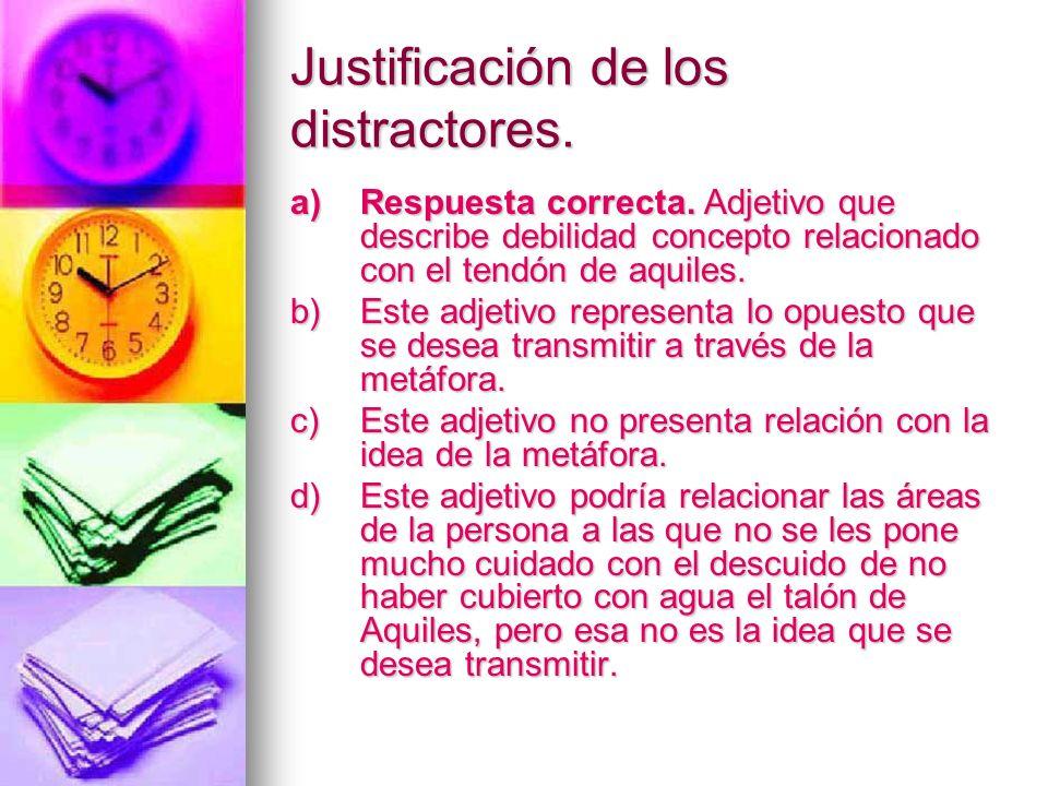 Justificación de los distractores. a)Respuesta correcta. Adjetivo que describe debilidad concepto relacionado con el tendón de aquiles. b)Este adjetiv
