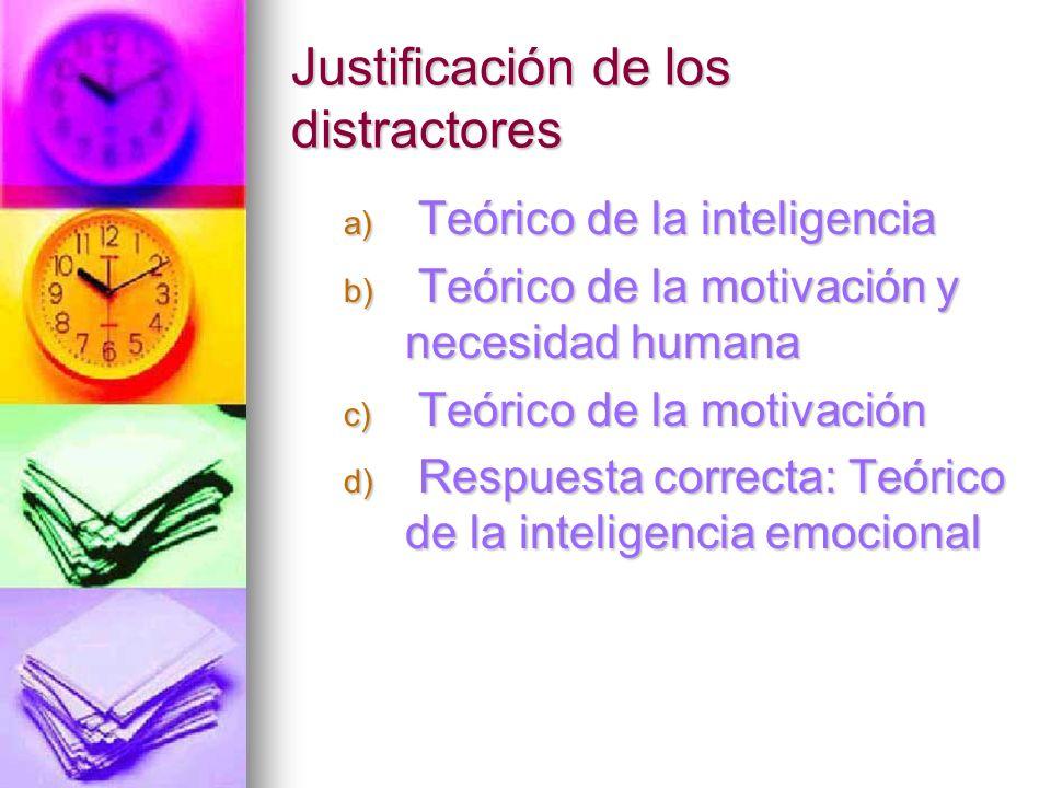 Justificación de los distractores a) Teórico de la inteligencia b) Teórico de la motivación y necesidad humana c) Teórico de la motivación d) Respuest