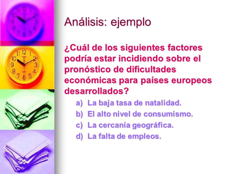 Análisis: ejemplo ¿Cuál de los siguientes factores podría estar incidiendo sobre el pronóstico de dificultades económicas para países europeos desarro