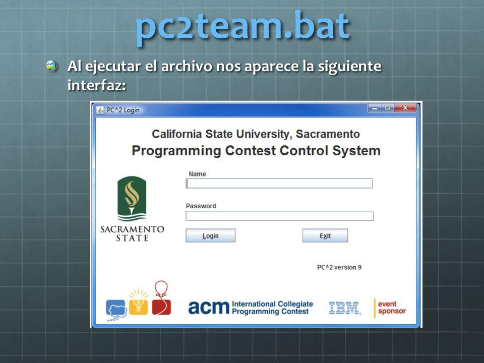 pc2team.bat Al ejecutar el archivo nos aparece la siguiente interfaz: