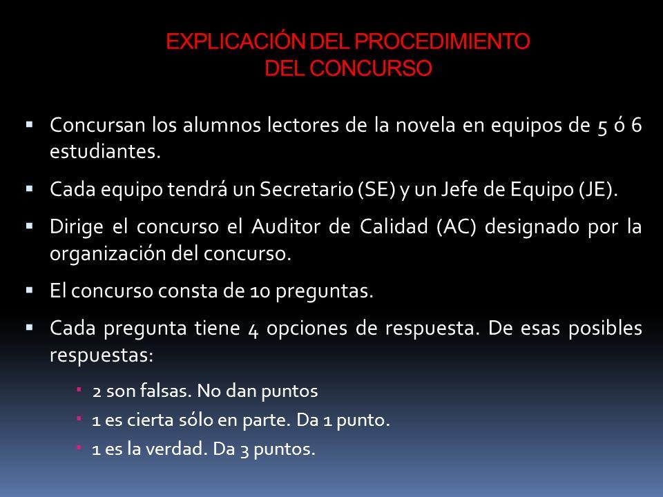 EXPLICACIÓN DEL PROCEDIMIENTO DEL CONCURSO Concursan los alumnos lectores de la novela en equipos de 5 ó 6 estudiantes.