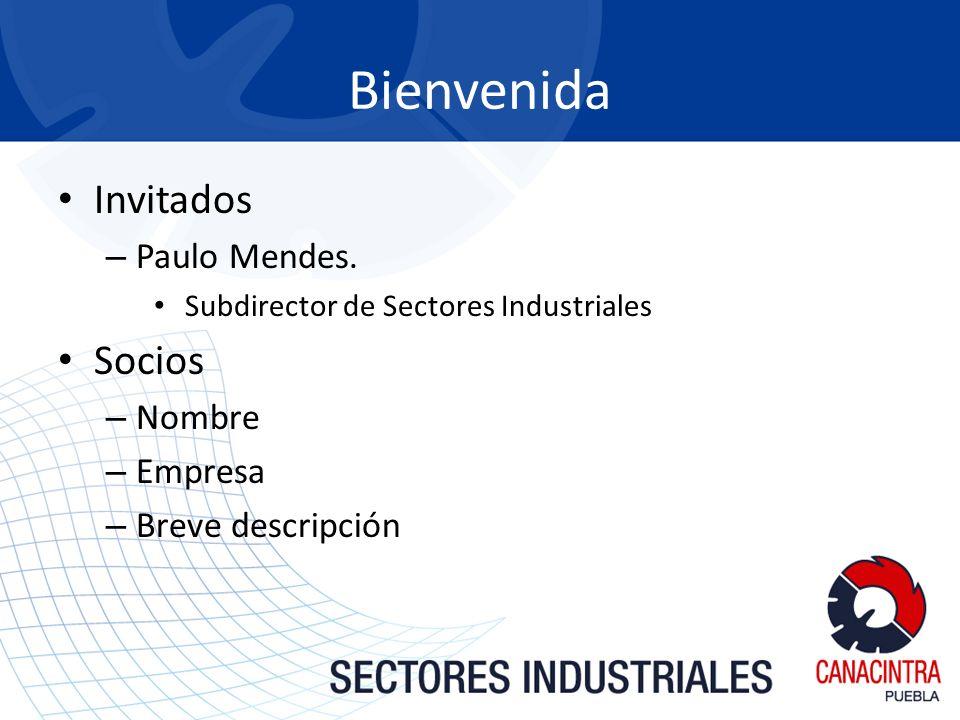 Invitados – Paulo Mendes. Subdirector de Sectores Industriales Socios – Nombre – Empresa – Breve descripción Bienvenida