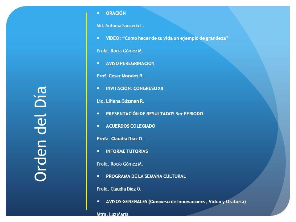 Orden del Día ORACIÓN Md. Antonia Saucedo L. VIDEO: Como hacer de tu vida un ejemplo de grandeza Profa. Rocía Gómez M. AVISO PEREGRINACIÓN Prof. Cesar