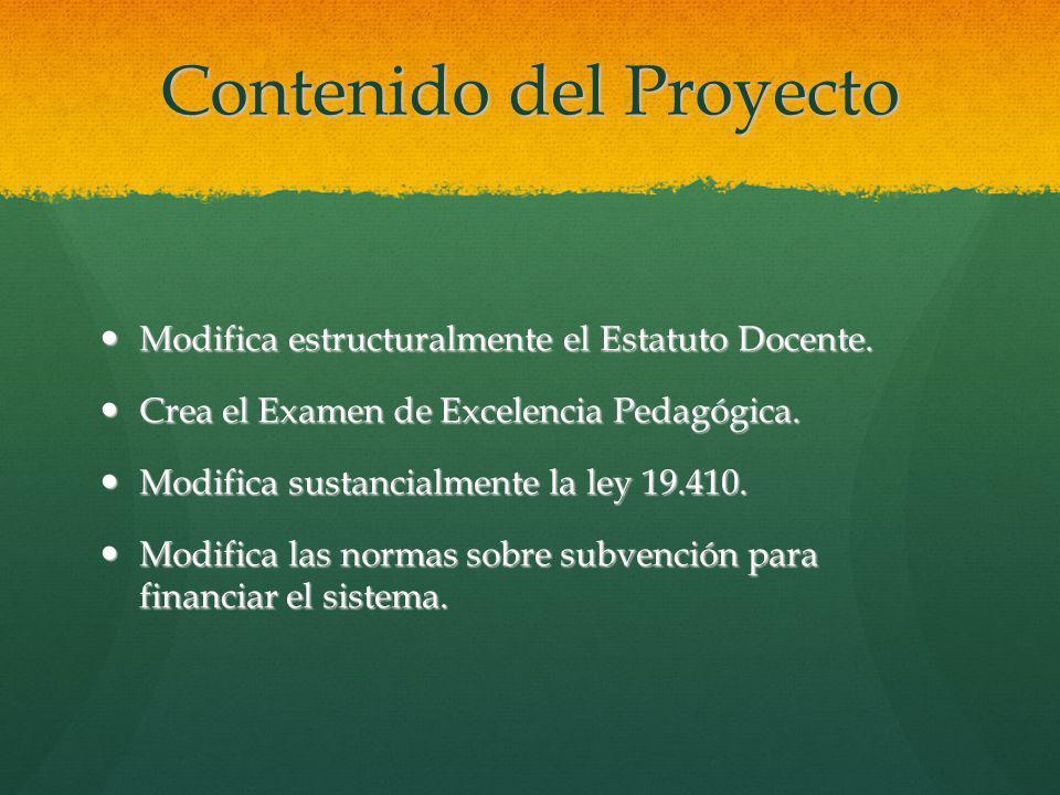 Contenido del Proyecto Modifica estructuralmente el Estatuto Docente. Modifica estructuralmente el Estatuto Docente. Crea el Examen de Excelencia Peda