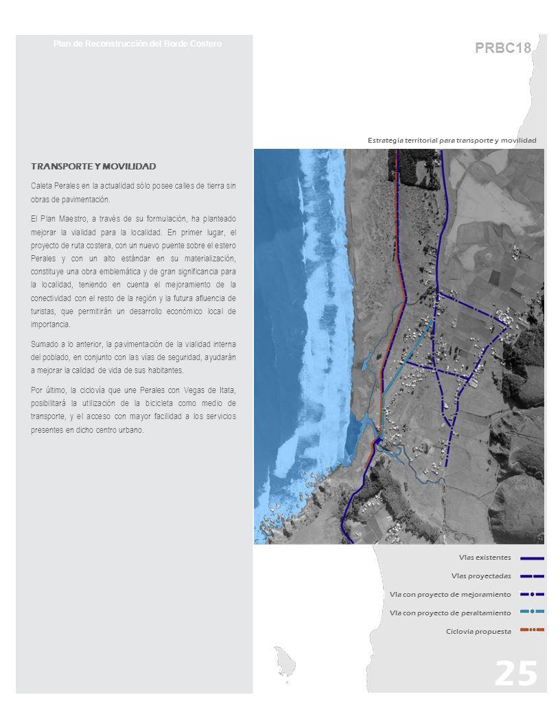 TRANSPORTE Y MOVILIDAD Caleta Perales en la actualidad sólo posee calles de tierra sin obras de pavimentación. El Plan Maestro, a través de su formula