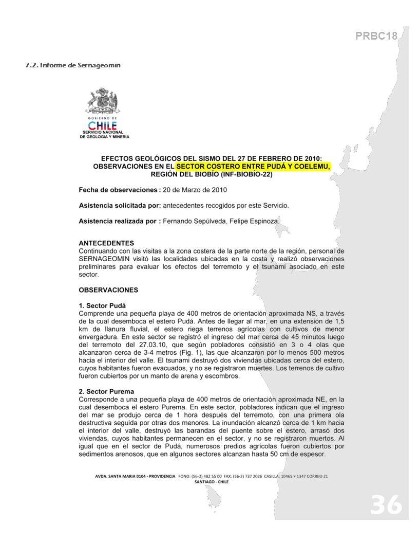 PRBC18 7.2. Informe de Sernageomin 36