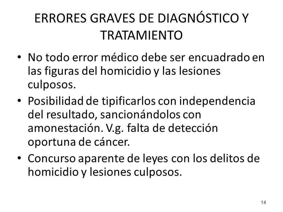 14 ERRORES GRAVES DE DIAGNÓSTICO Y TRATAMIENTO No todo error médico debe ser encuadrado en las figuras del homicidio y las lesiones culposos. Posibili