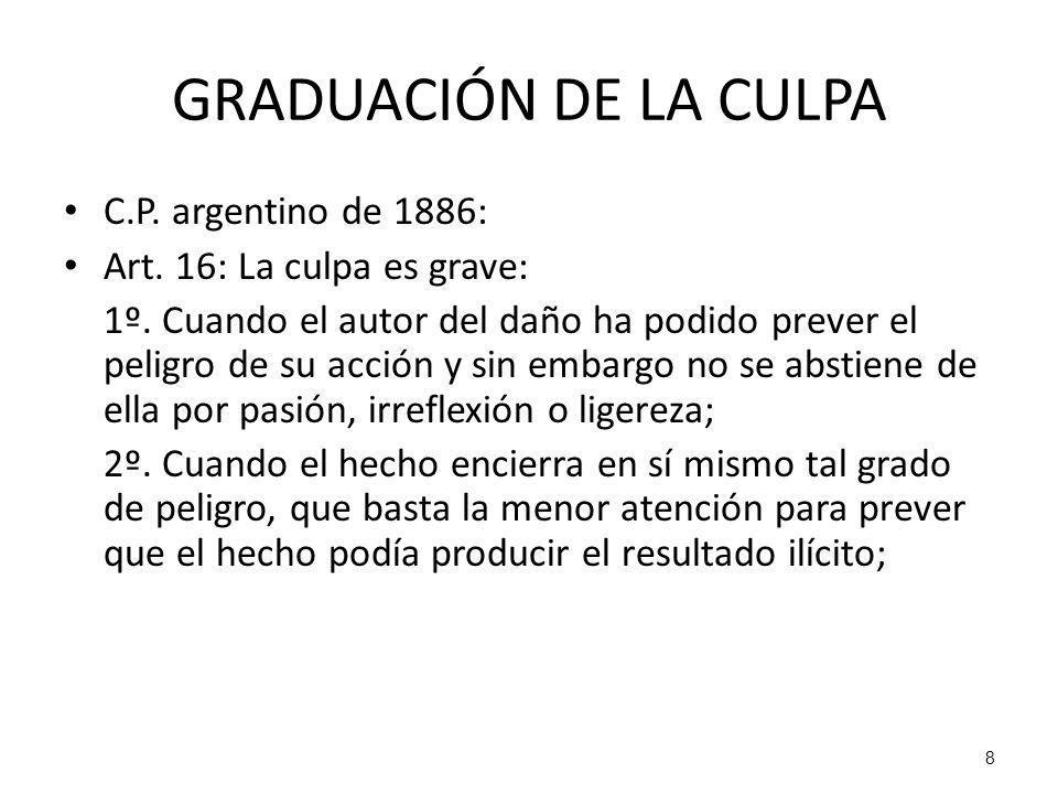 8 GRADUACIÓN DE LA CULPA C.P. argentino de 1886: Art. 16: La culpa es grave: 1º. Cuando el autor del daño ha podido prever el peligro de su acción y s