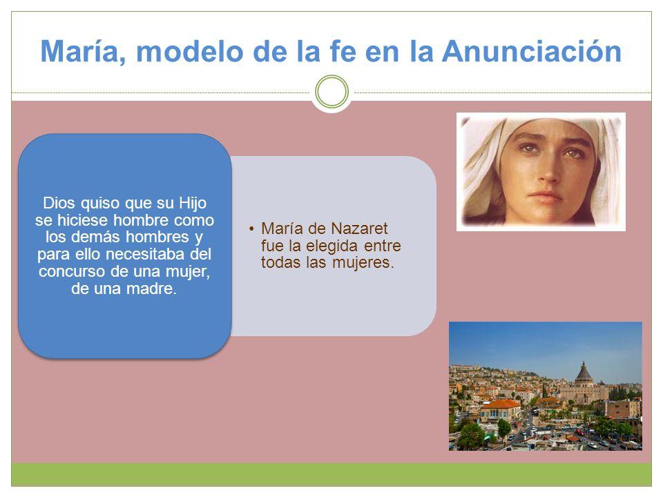 María, modelo de la fe en la Anunciación María de Nazaret fue la elegida entre todas las mujeres. Dios quiso que su Hijo se hiciese hombre como los de