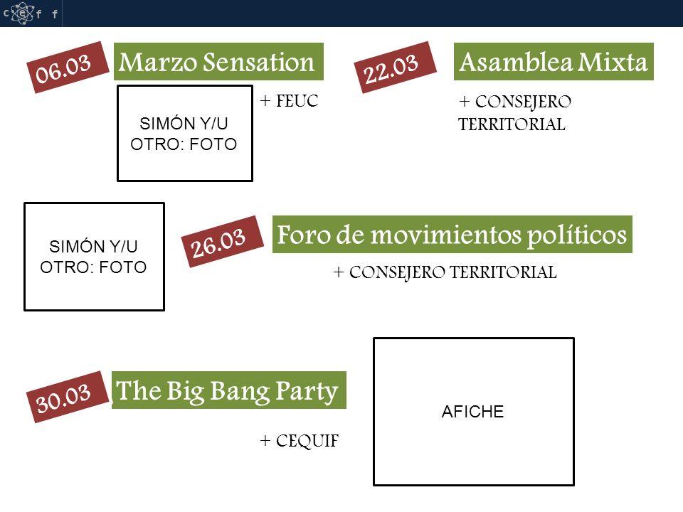 Marzo Sensation SIMÓN Y/U OTRO: FOTO Asamblea Mixta + FEUC + CONSEJERO TERRITORIAL Foro de movimientos políticos + CONSEJERO TERRITORIAL SIMÓN Y/U OTRO: FOTO The Big Bang Party + CEQUIF AFICHE