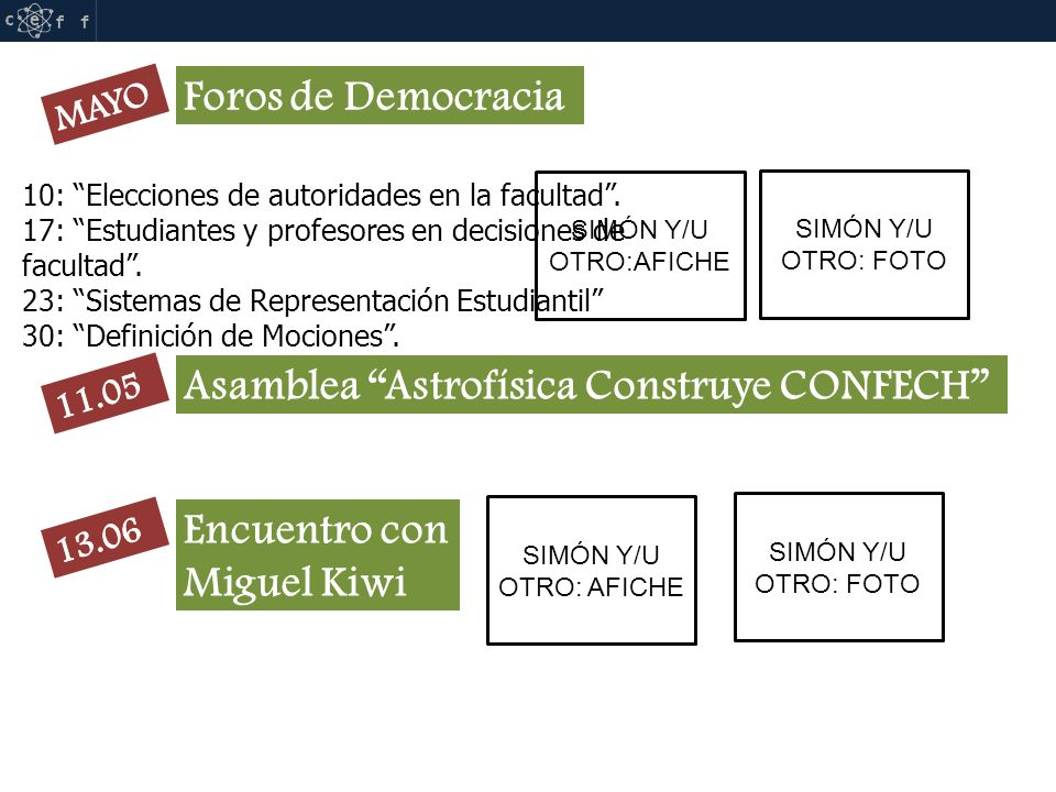 RIFF SIMÓN Y/U OTRO:AFICHE SIMÓN Y/U OTRO: FOTO Asamblea Astrofísica Construye CONFECH Encuentro con Miguel Kiwi SIMÓN Y/U OTRO: AFICHE Foros de Democracia SIMÓN Y/U OTRO: FOTO 10: Elecciones de autoridades en la facultad.