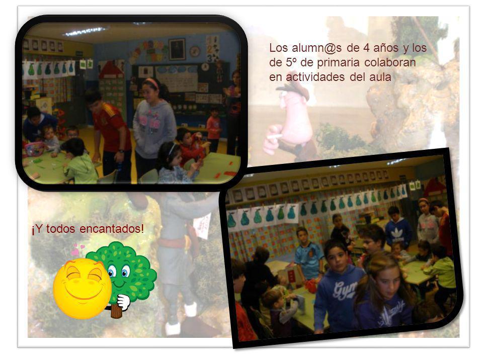 Los alumn@s de 4 años y los de 5º de primaria colaboran en actividades del aula ¡Y todos encantados!