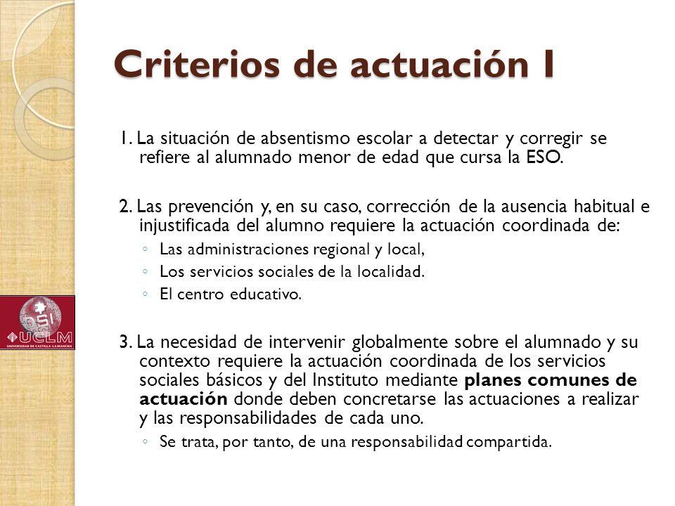Criterios de actuación I 1. La situación de absentismo escolar a detectar y corregir se refiere al alumnado menor de edad que cursa la ESO. 2. Las pre