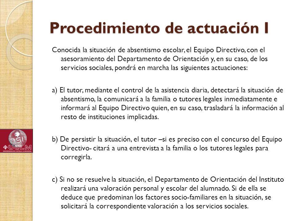 Procedimiento de actuación I Conocida la situación de absentismo escolar, el Equipo Directivo, con el asesoramiento del Departamento de Orientación y,
