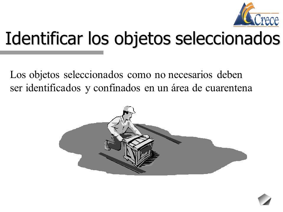 Identificar los objetos seleccionados Los objetos seleccionados como no necesarios deben ser identificados y confinados en un área de cuarentena