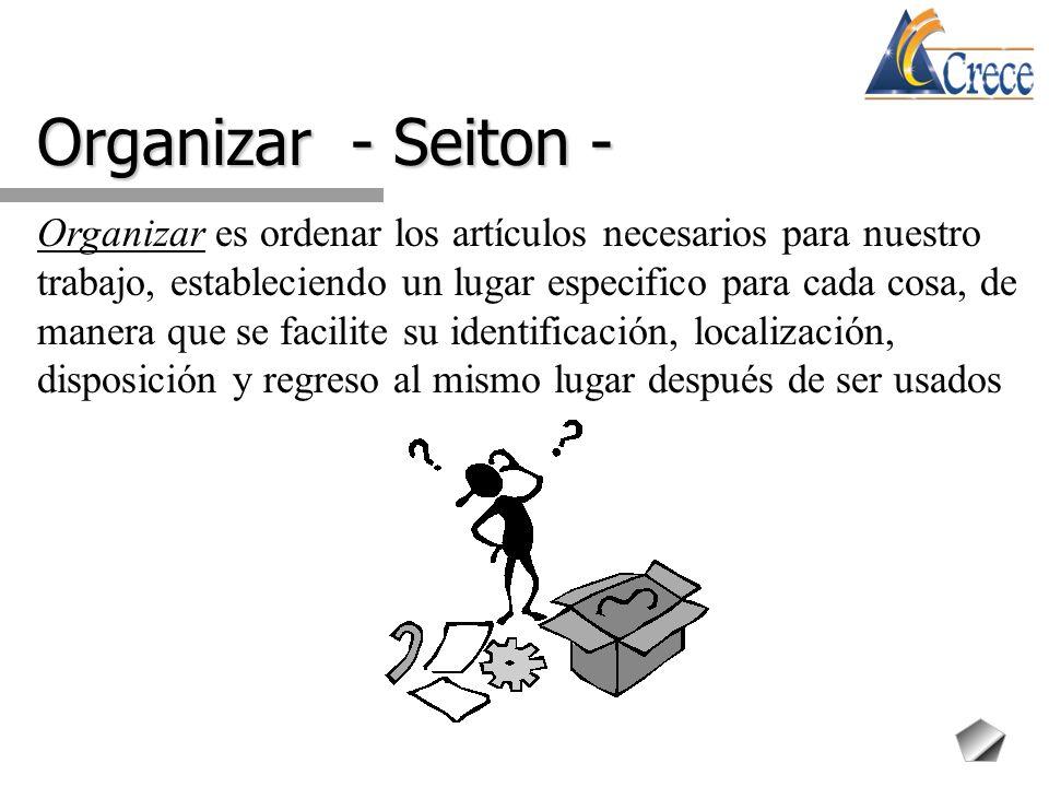 Organizar - Seiton - Organizar es ordenar los artículos necesarios para nuestro trabajo, estableciendo un lugar especifico para cada cosa, de manera q