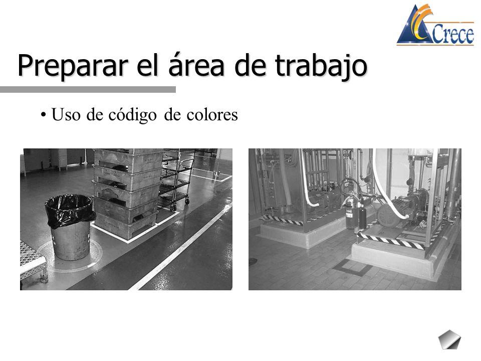 Preparar el área de trabajo Uso de código de colores