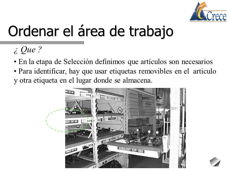 Ordenar el área de trabajo ¿ Que ? En la etapa de Selección definimos que artículos son necesarios Para identificar, hay que usar etiquetas removibles