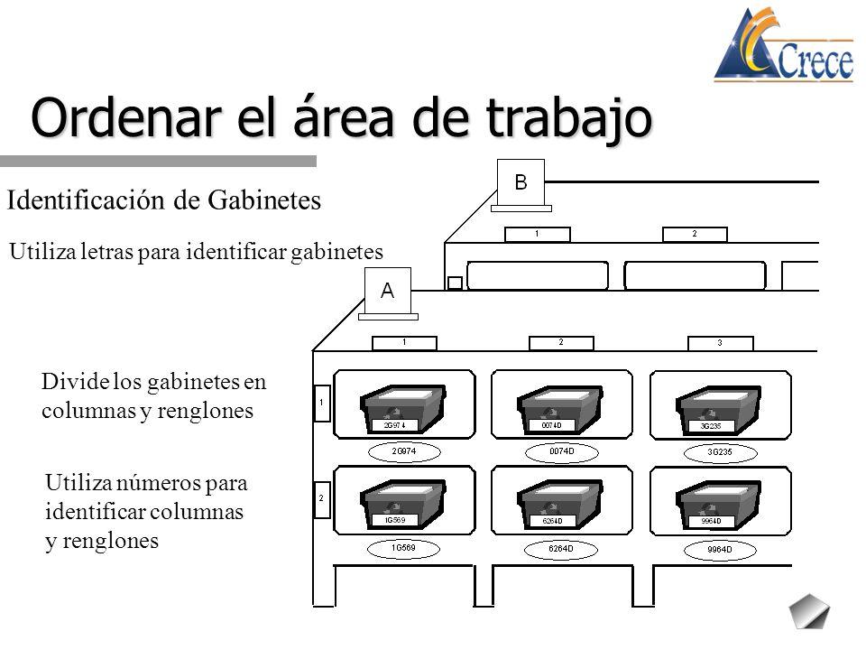 Divide los gabinetes en columnas y renglones Ordenar el área de trabajo Identificación de Gabinetes Utiliza letras para identificar gabinetes Utiliza