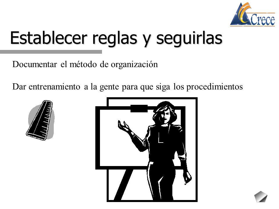 Establecer reglas y seguirlas Documentar el método de organización Dar entrenamiento a la gente para que siga los procedimientos