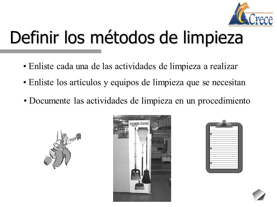 Definir los métodos de limpieza Enliste cada una de las actividades de limpieza a realizar Enliste los artículos y equipos de limpieza que se necesita