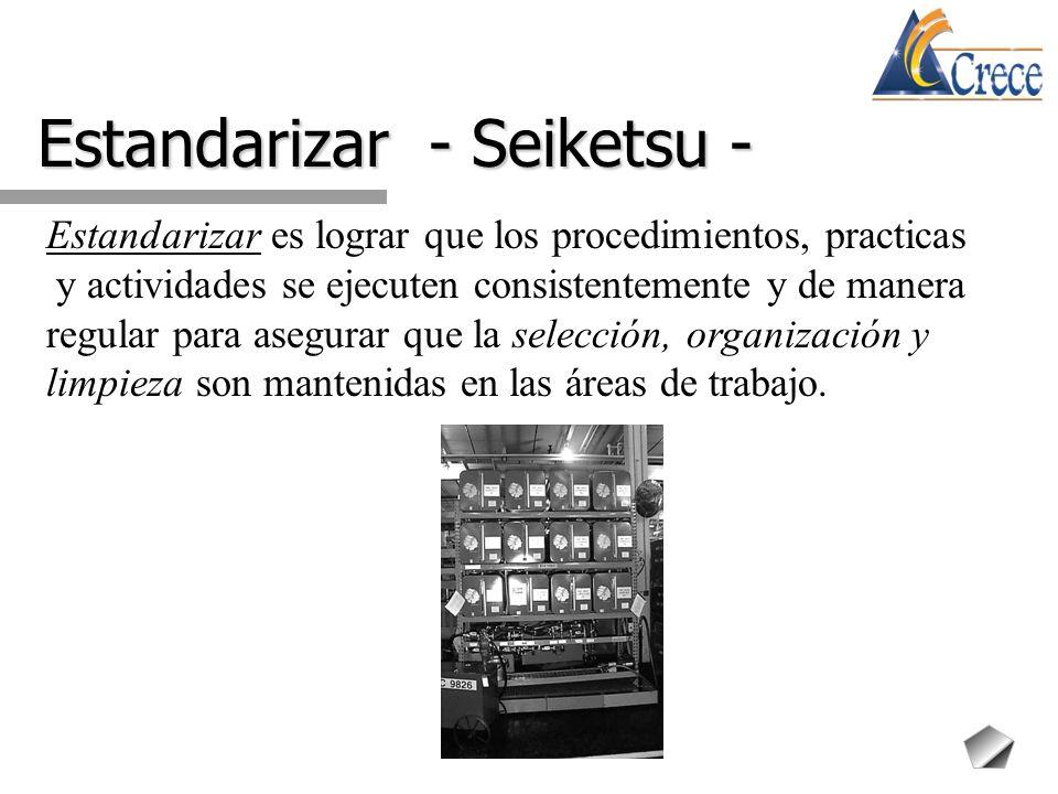 Estandarizar - Seiketsu - Estandarizar es lograr que los procedimientos, practicas y actividades se ejecuten consistentemente y de manera regular para