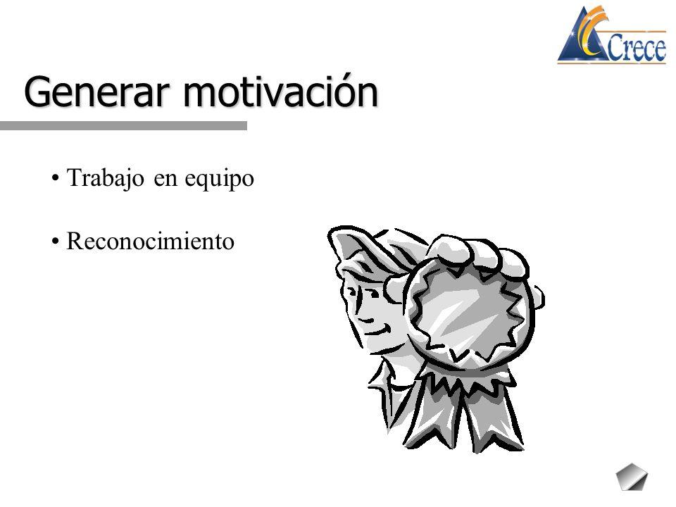 Generar motivación Trabajo en equipo Reconocimiento