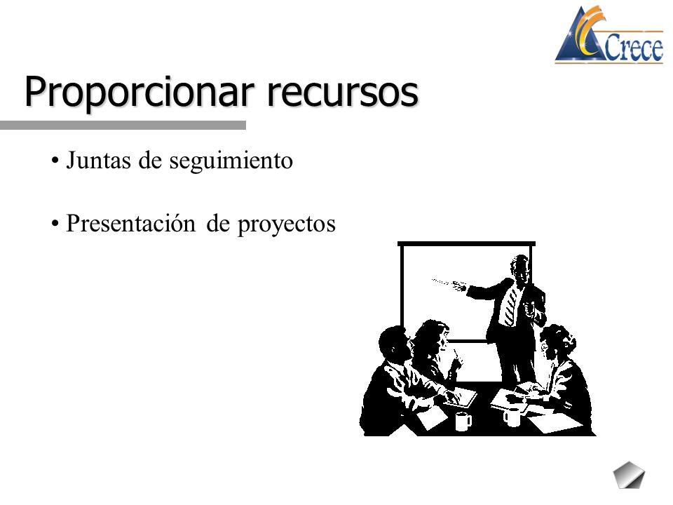 Proporcionar recursos Juntas de seguimiento Presentación de proyectos
