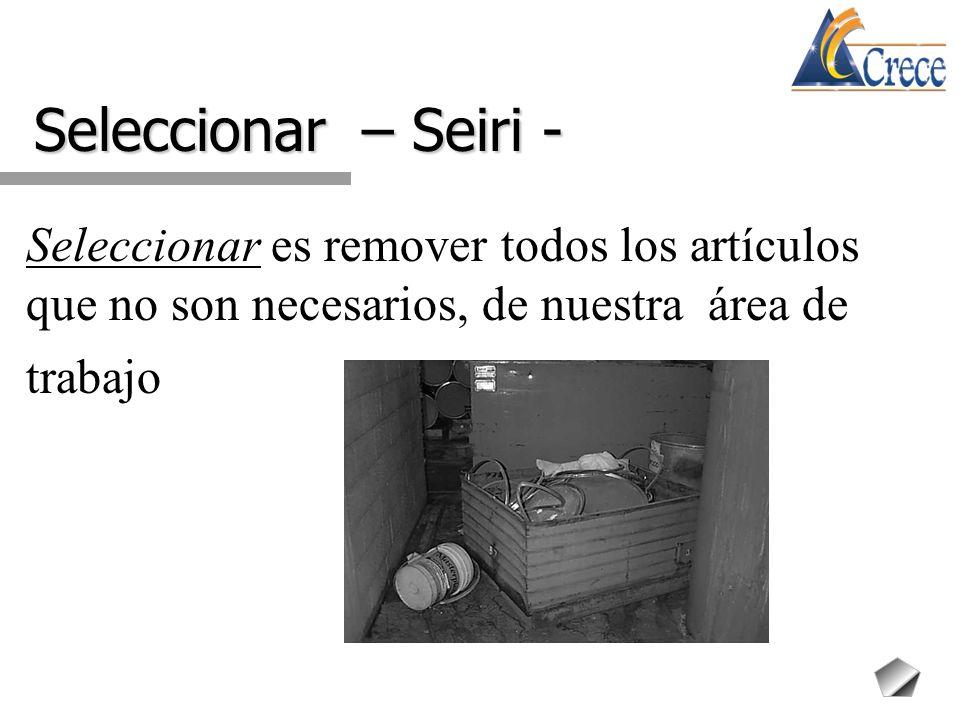 Seleccionar – Seiri - Seleccionar es remover todos los artículos que no son necesarios, de nuestra área de trabajo