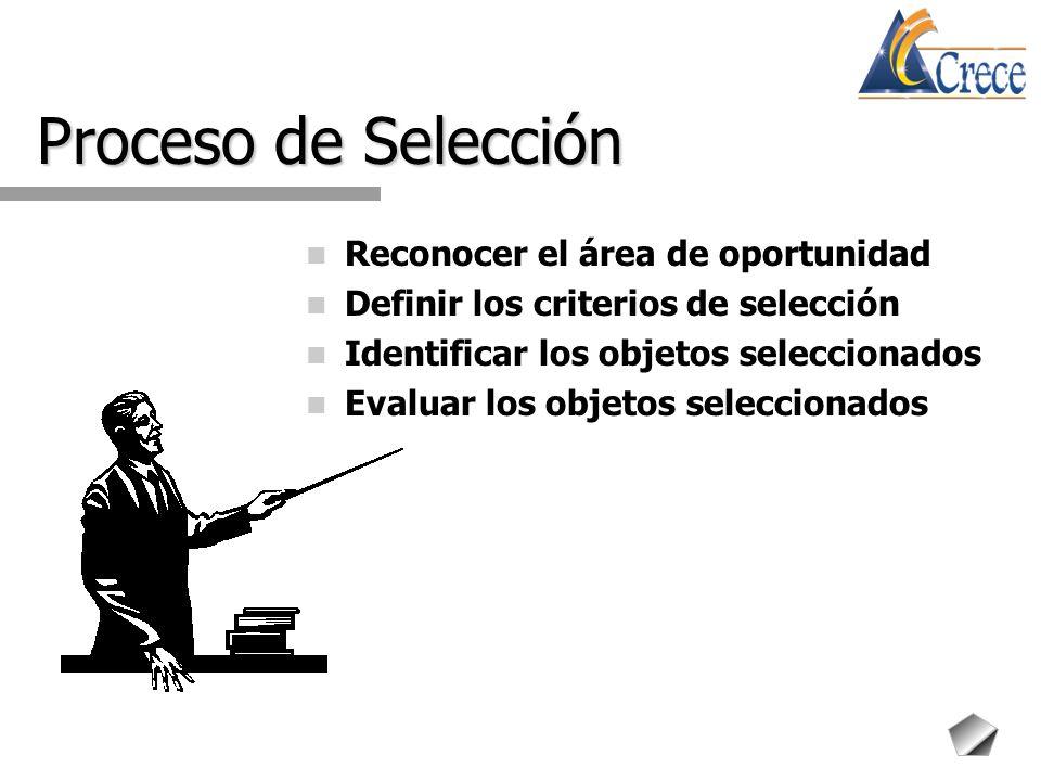 Proceso de Selección Reconocer el área de oportunidad Definir los criterios de selección Identificar los objetos seleccionados Evaluar los objetos sel