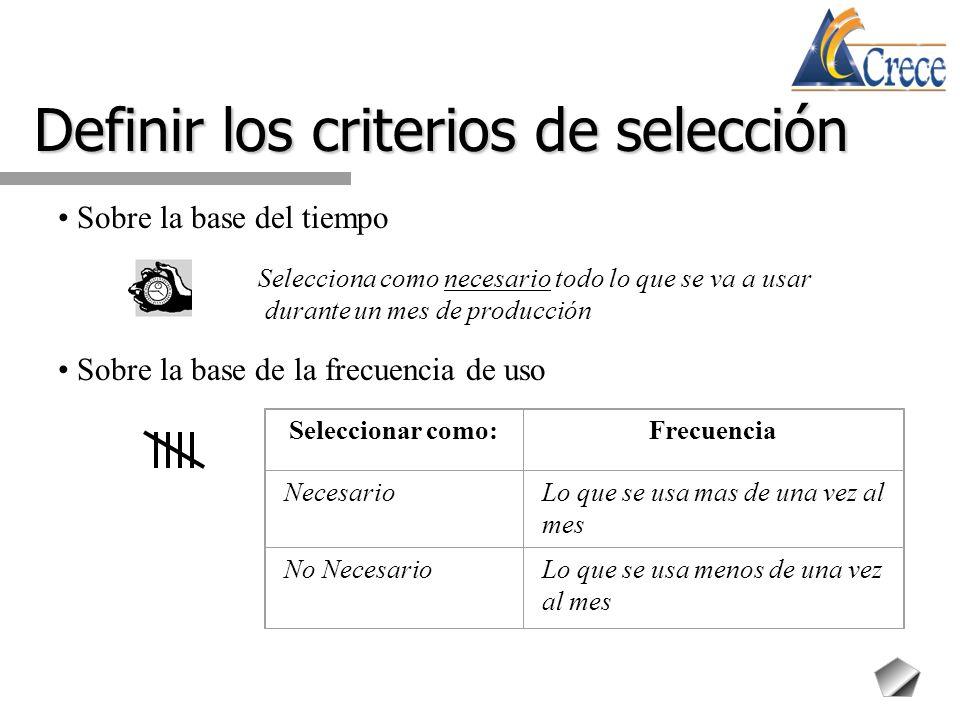 Definir los criterios de selección Sobre la cantidad a usar Seleccionar como no necesario el excedente de lo que se usa en el área de trabajo