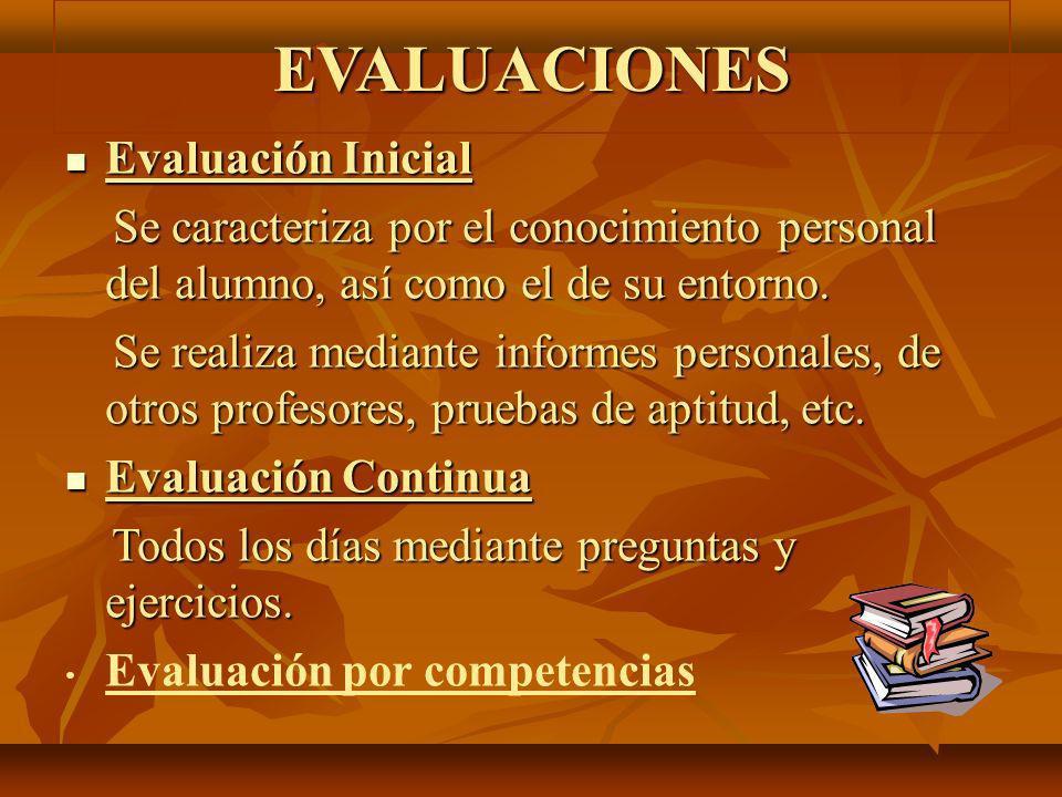 EVALUACIONES Evaluación Inicial Evaluación Inicial Se caracteriza por el conocimiento personal del alumno, así como el de su entorno. Se caracteriza p