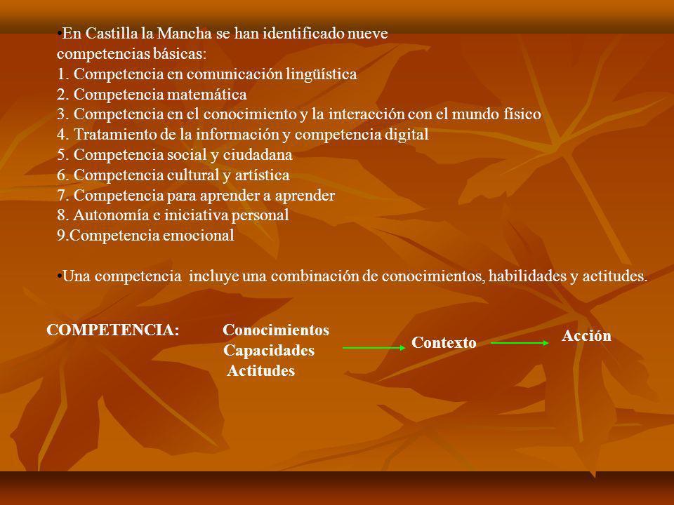 En Castilla la Mancha se han identificado nueve competencias básicas: 1. Competencia en comunicación lingüística 2. Competencia matemática 3. Competen