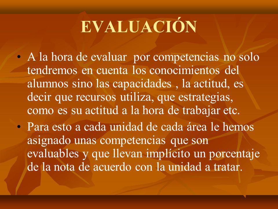 EVALUACIÓN A la hora de evaluar por competencias no solo tendremos en cuenta los conocimientos del alumnos sino las capacidades, la actitud, es decir