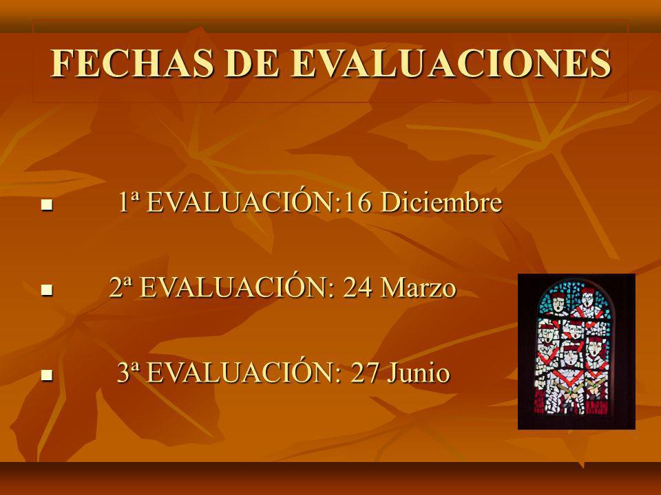 FECHAS DE EVALUACIONES 1ª EVALUACIÓN:16 Diciembre 1ª EVALUACIÓN:16 Diciembre 2ª EVALUACIÓN: 24 Marzo 2ª EVALUACIÓN: 24 Marzo 3ª EVALUACIÓN: 27 Junio 3