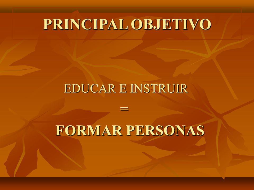 PRINCIPAL OBJETIVO EDUCAR E INSTRUIR EDUCAR E INSTRUIR = FORMAR PERSONAS FORMAR PERSONAS