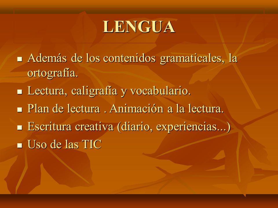 LENGUA Además de los contenidos gramaticales, la ortografía. Además de los contenidos gramaticales, la ortografía. Lectura, caligrafía y vocabulario.
