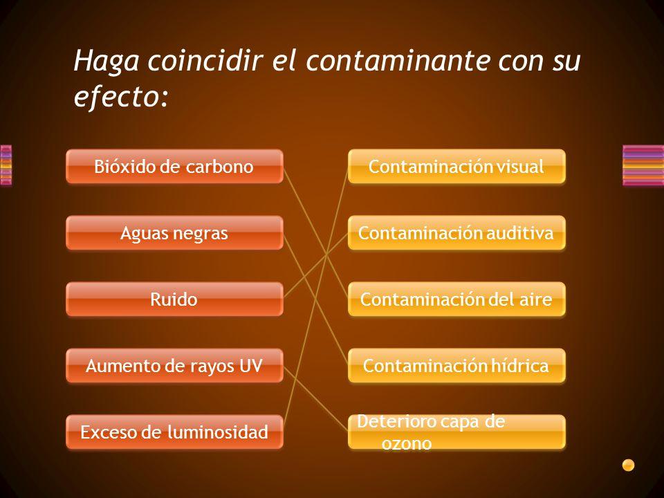 Haga coincidir el contaminante con su efecto: Bióxido de carbono Aguas negras Ruido Aumento de rayos UV Exceso de luminosidad Contaminación visual Con