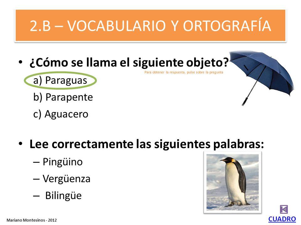 2.B – VOCABULARIO Y ORTOGRAFÍA ¿Cómo se llama el siguiente objeto.