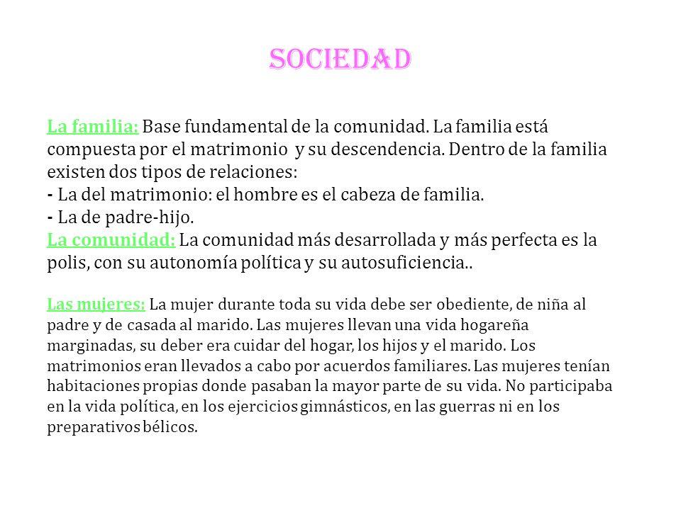 SOCIEDAD La familia: Base fundamental de la comunidad. La familia está compuesta por el matrimonio y su descendencia. Dentro de la familia existen dos
