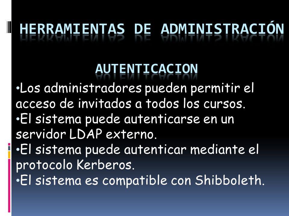 Los administradores pueden permitir el acceso de invitados a todos los cursos.