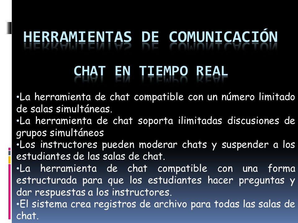 La herramienta de chat compatible con un número limitado de salas simultáneas.