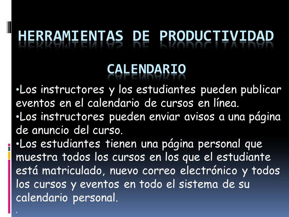 Los instructores y los estudiantes pueden publicar eventos en el calendario de cursos en línea.